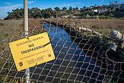 No Trespassing sign at Ballona Weltands Ecological Reserve, Playa Del Rey, Los Angeles, California, USA