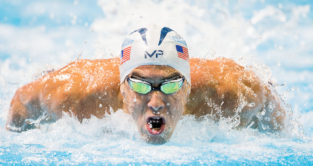 Omaha, Nebraska --<br /> <br /> Michael Phelps competes in the 100-meter butterfly semifinal during the U.S. Olympic Swim Trials at the CenturyLink Center on Friday, July 1, 2016, in Omaha.<br /> <br /> MATT DIXON/THE WORLD-HERALD