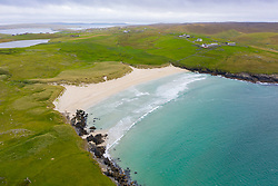 View of beach at Wick of Breckon on Island of Yell, Shetland, Scotland, UK
