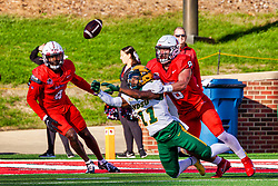 NORMAL, IL - October 16: A ball destined for Phoenix Sproles bounces from his hands as he is met by Kenton Wilhoit and ends up being intercepted by Iverson Brown during a college football game between the NDSU (North Dakota State) Bison and the ISU (Illinois State University) Redbirds on October 16 2021 at Hancock Stadium in Normal, IL. (Photo by Alan Look)