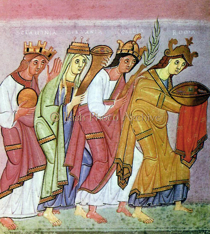 Circa 998 – 1001 A pair of facing paintings showing the peoples of the world adoring Otto III, from the Gospels of Otto III. The Gospels of Otto III, probably produced in Reichenau Abbey, in the scriptorium headed by the monk Liuthard, for Holy Roman Emperor Otto III.  worshippers resemble the Magi bringing offerings to the infant Christ. They are four women bearing gold and jewels and their names are written above in capitals: Sclavinia, the eastern European with dark read hair; Germania, a fair-skinned girl with long wispy blonde hair, Gallia, the back-haired French girl, and the curly-headed Roma, who is bowing lowest of all before the ruler of the empire.