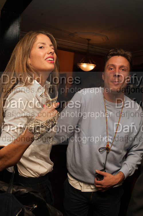 FANNY GAILLARD; CYPRIEN GAILLARD, Opening of Morris Lewis: Cyprien Gaillard. From Wings to Fins, Sprüth Magers London Grafton St. London. Afterwards dinner at Simpson's-in-the-Strand hosted by Monika Spruth and Philomene Magers.