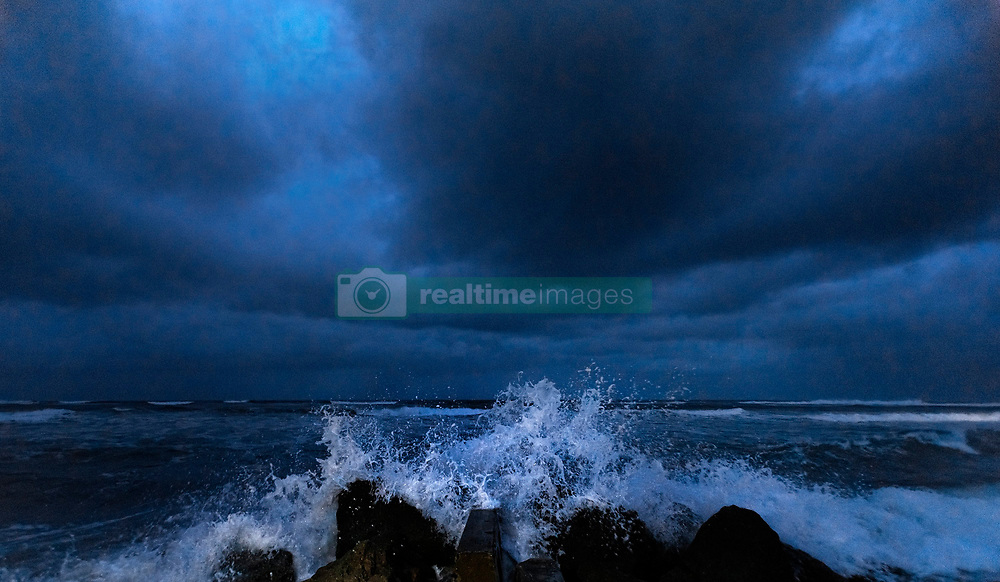 September 2, 2019, Palm Beach, Florida, USA: Waves crash on Midtown Beach ten minutes before dawn in Palm Beach as Hurricane Dorian slowly approaches. Dorian stalled over the Bahamas and is expected to be closest to Florida on Tuesday night into Wednesday morning. (Credit Image: © Lannis Waters/The Palm Beach Post via ZUMA Wire)