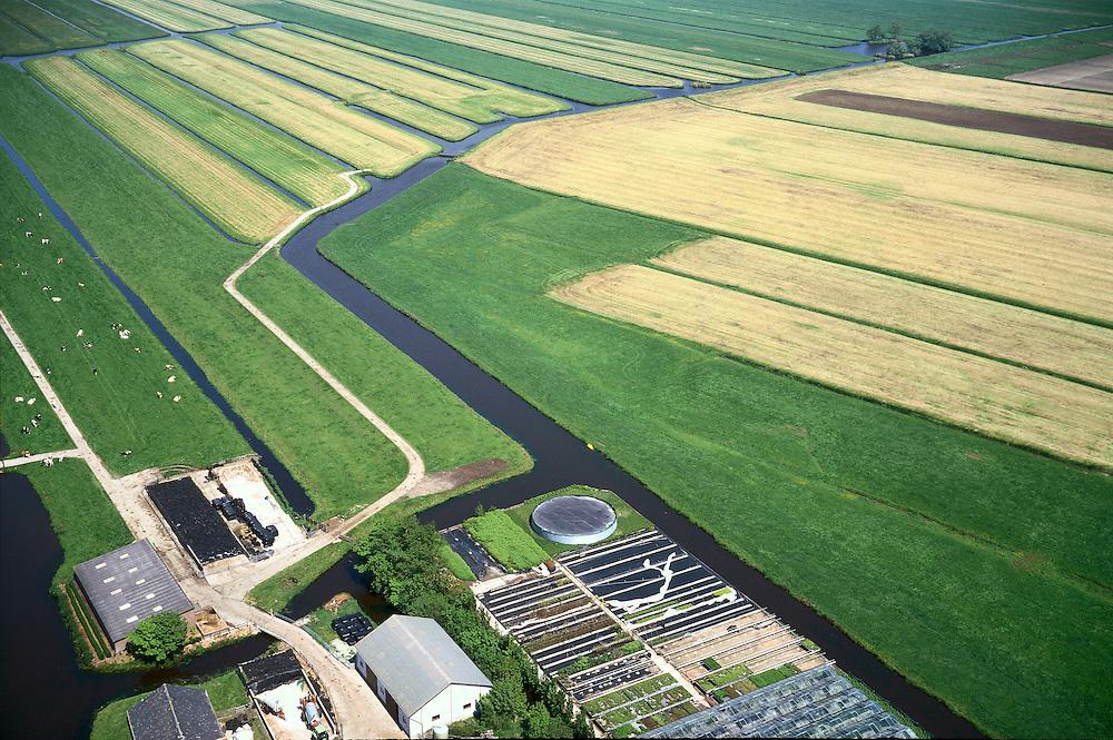 Nederland, Bent, Polder Groenendijk, 17/05/2002;  Groene Hart (ten W van Leiden) de boortunnel van de HSL doorkruist dit gebied ondergronds;  op deze lokatie zal wel een vluchtschacht (nooduitgang) gebouwd worden (rechts vdknik in de ringvaart ); de boerderij, linksonder, is gemengd bedrijf: melkvee (koeien in de wei) en (boom)kwekerij;  infrastructuur, bouwen, spoor, rail, TGV planologie ruimtelijke ordening, landschap landbouw en veeteelt;<br /> luchtfoto (toeslag), aerial photo (additional fee)<br /> foto /photo Siebe Swart