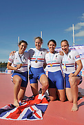 Hamilton, NEW ZEALAND.  GBR W4X Debbie FLOOD, Beth RODFORD, Frances HOUGHTON and Annie VERNON, medal podium after winning gold in the women's quadruple sculls at the 2010 World Rowing Championships - Lake Karapiro. Friday 05.11.2010.  [Mandatory Credit Peter Spurrier:Intersport Images].