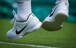 21.06.2011, Wimbledon, London, GBR, Wimbledon Tennis Championships, im Bild The Nike tenns shoes of Roger Federer (SUI) depicting his six Wimbledon Singles' titles during the Gentlemen's Singles 1st Round match on day two of the Wimbledon Lawn Tennis Championships at the All England Lawn Tennis and Croquet Club, EXPA Pictures © 2011, PhotoCredit: EXPA/ Propaganda/ *** ATTENTION *** UK OUT!