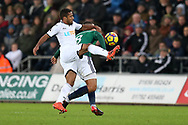 Wayne Routledge of Swansea city challenges Jake Livermore of West Bromwich Albion ®. Premier league match, Swansea city v West Bromwich Albion at the Liberty Stadium in Swansea, South Wales on Saturday 9th December 2017.<br /> pic by  Andrew Orchard, Andrew Orchard sports photography.