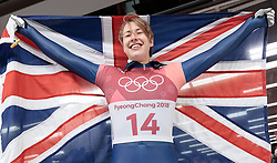 17.02.2018, Olympic Sliding Centre, Pyeongchang, KOR, PyeongChang 2018, Skeleton, Damen, 4. Lauf, im Bild Lizzy Yarnold (GBR, 1. Platz) // gold medalist and Olympic champion Lizzy Yarnold of United Kingdom reacts after the ladie's Skeleton heat 4 competition of the Pyeongchang 2018 Winter Olympic Games at the Olympic Sliding Centre in Pyeongchang, South Korea on 2018/02/17. EXPA Pictures © 2018, PhotoCredit: EXPA/ Johann Groder