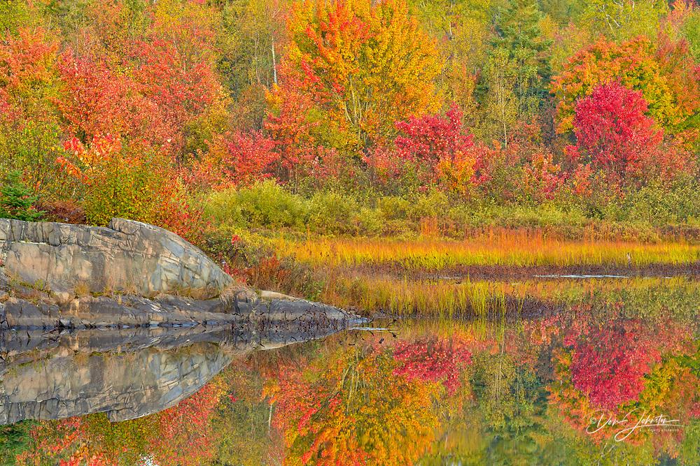Autumn reflections in Fairbank Creek, Greater Sudbury, Ontario, Canada