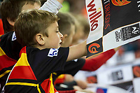 Rugby Union - 2016 / 2017 Pro12 - [Judgement Day V]: Newport Gwent Dragons vs. Scarlets<br /> <br /> Young fans wave flags in a crowd of 60,642, before the game  at Principality Stadium [Millennium Stadium], Cardiff.<br /> <br /> COLORSPORT/WINSTON BYNORTH