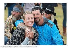 Erin and Billy Lane at Heather and Chris Callen's Wedding at the Broken Spoke Camground during the 75th Annual Sturgis Black Hills Motorcycle Rally.  SD, USA.  August 8, 2015.  Photography ©2015 Michael Lichter.