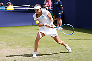 Jana Cepelova of Slovakia plays a forehand during the Women's Singles Quarter Final at the Fuzion 100 Ilkley Lawn Tennis Trophy Tournament held at Ilkley Lawn Tennis and Squad Club, Ilkley, United Kingdom on 19 June 2019.