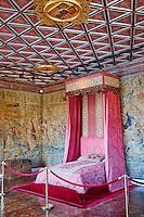 France, Indre et Loire (37), Château de Chenonceau, édifié de 1513 à 1521, de style Renaissance, au bord du Cher, chambre des cinq Reines // France, Indre-et-Loire,  Chenonceau Castle and the Cher river, The five Queens Bedroom