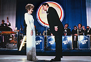 President Ronald Reagan and First Lady Nancy Reagan at an Inaugural Ball on January 20, 1985.<br /><br />Photograph by Dennis Brack