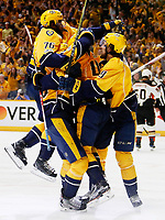 NASHVILLE, TN - MAY 22:  Pontus Aberg #46 of the Nashville Predators celebrates with teammates after scoring a goal against the Anaheim Ducks during the third period in Game Six of the Western Conference Final during the 2017 Stanley Cup Playoffs at Bridgestone Arena on May 22, 2017 in Nashville, Tennessee.  (Photo by Frederick Breedon/Getty Images)