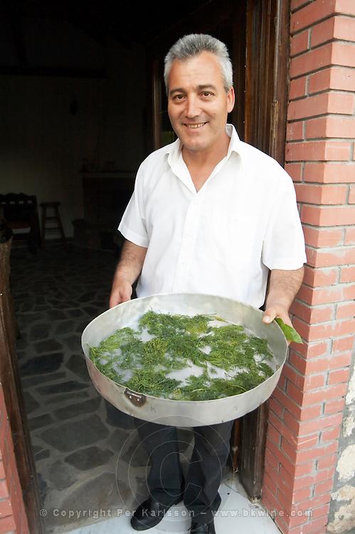 Nikos Kontosoros, The owner. Kontosoros restaurant and guest house, Xino Nero, Amyndeo, Macedonia, Greece