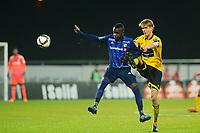 Fotball , Tippeligaen , Eliteserien <br /> Lørdag 1. November , 20151101<br /> Stabæk - Start<br /> Kamal Issah - Stabæk<br /> Kristoffer Ajer - Start<br /> Foto: Sjur Stølen / Digitalsport
