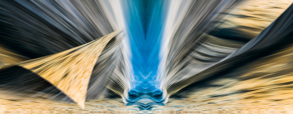"""""""Flying Alien in Commencement Bay"""", derivative image created from a photo of water streaked from a long exposure, winter, January, evening light, Commencement Bay, Tacoma, Washington, USA"""