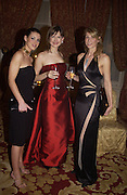 Kirsty Gallagher, Katie Derham and Kay Charlesworth. Bulgari/NSPCC Snow Ball, Mandarin Oriental. 11 December 2002. © Copyright Photograph by Dafydd Jones 66 Stockwell Park Rd. London SW9 0DA Tel 020 7733 0108 www.dafjones.com