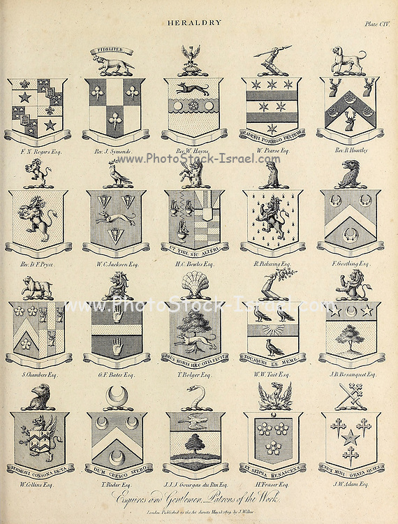 Esquires and Gentlemen Heraldry is a discipline relating to the design, display and study of armorial bearings (known as armory), as well as related disciplines, such as vexillology, together with the study of ceremony, rank and pedigree. Armory, the best-known branch of heraldry, concerns the design and transmission of the heraldic achievement. The achievement, or armorial bearings usually includes a coat of arms on a shield, helmet and crest, together with any accompanying devices, such as supporters, badges, heraldic banners and mottoes. Copperplate engraving From the Encyclopaedia Londinensis or, Universal dictionary of arts, sciences, and literature; Volume IX;  Edited by Wilkes, John. Published in London in 1811