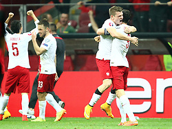 11.10.2014, National Stadium, Warsaw, POL, UEFA Euro Qualifikation, Polen vs Deutschland, Gruppe D, im Bild RADOSC POLSKA BRAMKA GOL WALDEMAR SOBOTA POLSKA MACIEJ RYBUS POLSKA LUKASZ PISZCZEK POLSKA ROBERT LEWANDOWSKI POLSKA // RADOSC POLSKA BRAMKA GOL WALDEMAR SOBOTA POLSKA MACIEJ RYBUS POLSKA LUKASZ PISZCZEK POLSKA ROBERT LEWANDOWSKI POLSKA // during the UEFA EURO 2016 Qualifier group D match between Poland and Germany at the National Stadium in Warsaw, Poland on 2014/10/11. EXPA Pictures © 2014, PhotoCredit: EXPA/ Newspix/ Michal Nowak<br /> <br /> *****ATTENTION - for AUT, SLO, CRO, SRB, BIH, MAZ, TUR, SUI, SWE only*****