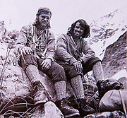 John Glasgow (left) and Peter Gough, New Zealand mountaineers at Mt Cook after first ascent of Caroline face Aoraki Mount Cook, 1970.