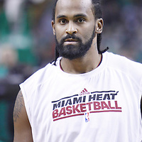 01 April 2012: Miami Heat center Ronny Turiaf (21) warms up prior to the Boston Celtics 91-72 victory over the Miami Heat at the TD Banknorth Garden, Boston, Massachusetts, USA. NOTE TO USER: User expressly acknowledges and agrees that, by downloading and or using this photograph, User is consenting to the terms and conditions of the Getty Images License Agreement. Mandatory Credit: 2012 NBAE (Photo by Chris Elise/NBAE via Getty Images)