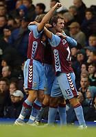 Photo: Paul Greenwood.<br />Everton v Aston Villa. The Barclays Premiership. 11/11/2006. Villa's Chris Sutton, centre, celebrates his goal.