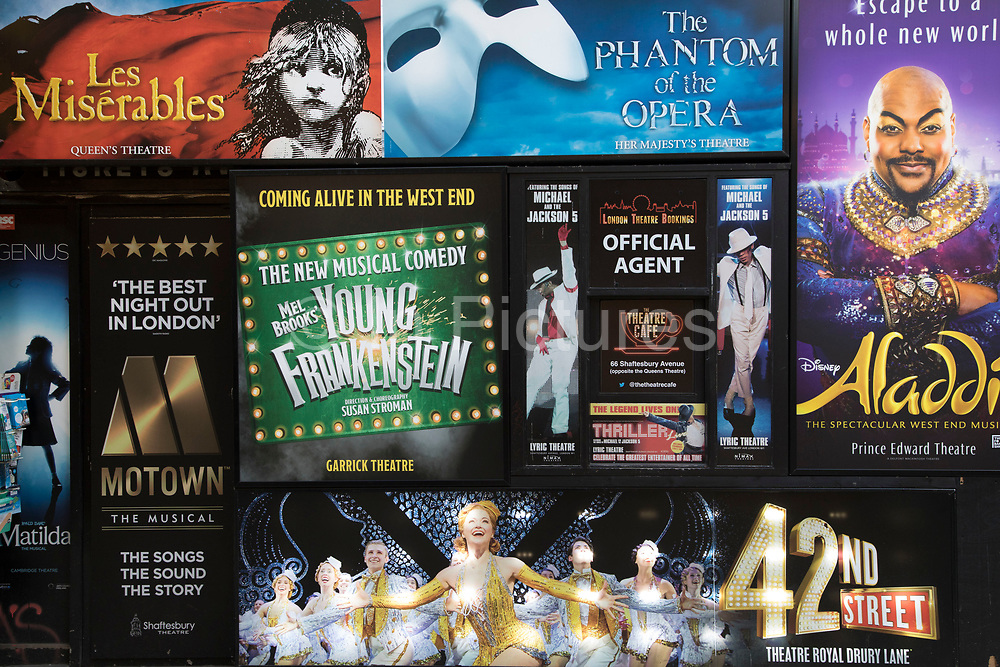 Signs advertising various West End Theatre shows in London, England, United Kingdom.