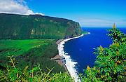 Waipi'o Valley and beach, Hamakua Coast, The Big Island, Hawaii USA