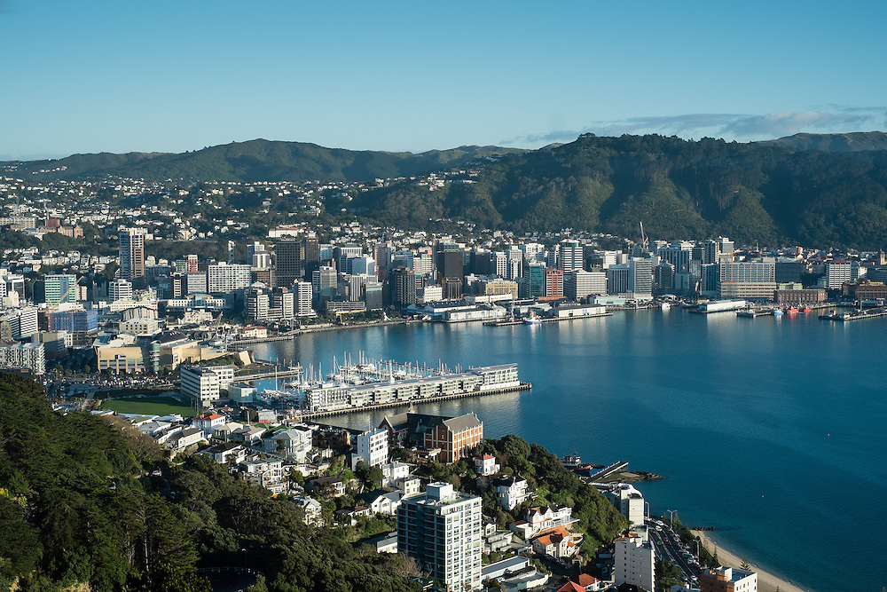 View of Wellington CIty with Saint Gerard's Catholic Church and Monastery in the foreground seen from Mt Victoria early in the morning on a clear day following a southerly storm. Monday 28 July 2014.<br /> Photo: Mark Tantrum / www.marktantrum.com