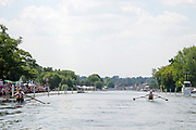 """Henley on Thames, United Kingdom, 3rd July 2018, Sunday,  """"Henley Royal Regatta"""", The Diamond Challenge Sculls, Finalists, (Left) Mahe DRYSDALE NZL M1X,  (Right) Kjetil BORCH NOR M1X,progress along the course,    View, Henley Reach, River Thames, Thames Valley, England, UK."""