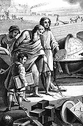 Pythagoras (6th century BC) Ancient Greek mathematician and philosopher, shown drawing in sand his theorem on right-angled triangle. Stipple engraving 1833
