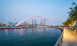 View of new Dubai Water Canal a waterway that connects into Dubai Creek and the sea. UAE, United Arab Emirates