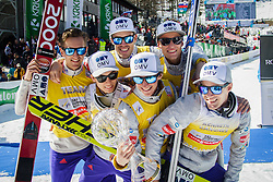 Team Norway (Anders Fannemel, Johann Andre Forfang, Daniel Andre Tande and Kenneth Gangnes), Overall winning team in Nations Cup celebrate during flower ceremony after the Ski Flying Hill Team Competition at Day 4 of FIS Ski Jumping World Cup Final 2016, on March 20, 2016 in Planica, Slovenia. Photo by Ziga Zupan / Sportida