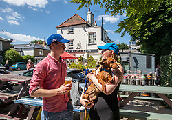 © Licensed to London News Pictures. 22/06/2020. London, UK. Pub goers Rob Jones 32 and Sarah McLean 27 from Chelsea with their dog Winston, enjoy a takeaway pint at the Black Lion Pub along the banks of the River Thames in Hammersmith, West London as forecasters predict a warm week ahead with temperatures set to reach over 30c. Tomorrow, Prime Minister, Boris Johnson is expected to give the green light to loosening of the 2 metre social distancing rule with hotels and campsites set to reopen in the next 2 weeks. Photo credit: Alex Lentati/LNP