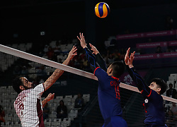 JAKARTA, Sept. 1, 2018  Liu Hongjie (R) of Chinese Taipei competes during Volleyball Men's Bronze Medal Match against Qatar at the Asian Games 2018 in Jakarta, Indonesia on Sept. 1, 2018. (Credit Image: © Wang Lili/Xinhua via ZUMA Wire)