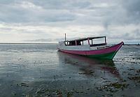 Boat anchored offshore near Vila, Atauro Island, Timor-Leste (East Timor)