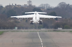 © Licensed to London News Pictures. 21/03/2019. London, UK. Prime Minister Theresa May's plane takes off from RAF Northolt as she heads to Brussels for an EU summit. Mrs May is seeking a short delay for Brexit as she attempts to get the Withdrawal Agreement through Parliament. Photo credit: Peter Macdiarmid/LNP