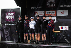 CANYON//SRAM Racing riders on the sign-on podium before the Liege-Bastogne-Liege Femmes - a 138.5 km road race, between Bastogne and Liege on April 28, 2019, in Wallonie, Belgium. (Photo by Balint Hamvas/Velofocus.com)