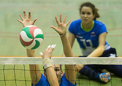 Larisa Pirih of Slovenia and Lena Gabrscek of Slovenia during friendly Sitting Volleyball match between National teams of Slovenia and China, on October 22, 2017 in Sempeter pri Zalcu, Slovenia. (Photo by Vid Ponikvar / Sportida)