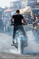 Brother Kyle and Cody Ives of the Ives Brothers Wall of Death did some stunt riding for the crowd in the Crossroads area of the Buffalo Chip during the Sturgis Black Hills Motorcycle Rally. SD, USA. Thursday, August 8, 2019. Photography ©2019 Michael Lichter.