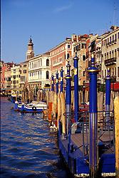 Venice, Italy:  Palazzos and gondolas line the Grand Canal, in the vicinity of the Rialto Bridge.