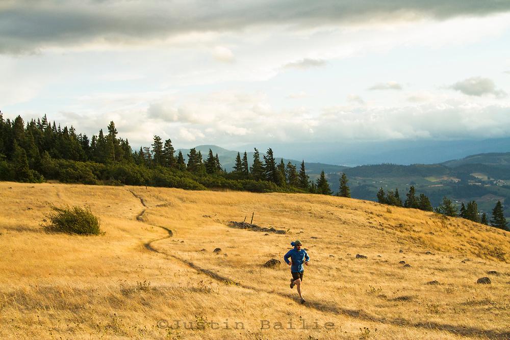 Trail running near Hood River, OR.