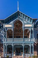 Borjomi , Georgia - August 12, 2019 :  Blue Palace Firuza landmark of the thermal city of Borjomi Samtskhe Javakheti region Georgia eastern Europe