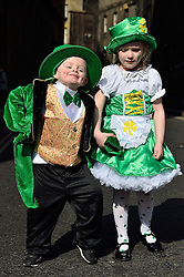 Two young children dressed in traditional St Patrick's Day clothes pose for photo to celebrate St. Patrick's Day in London, Britain, on March 13, 2016. EXPA Pictures © 2016, PhotoCredit: EXPA/ Photoshot/ Ray Tang<br /> <br /> *****ATTENTION - for AUT, SLO, CRO, SRB, BIH, MAZ, SUI only*****