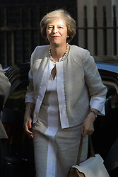 Downing Street, London, July 19th 2016. British Prime Minister Theresa May arrives at the first full cabinet meeting since taking office.