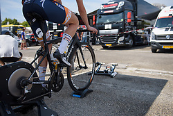 Megan Guarnier warms up for La Course High Speed Pursuit 2017 - a 22.5 km pursuit road race on July 22, 2017, in Marseille, France. (Photo by Sean Robinson/Velofocus.com)