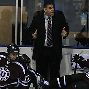 Rick Bennett, Union College head coach, during the Yale Vs Union College, Men's College Ice Hockey game at Ingalls Rink, New Haven, Connecticut, USA. 28th February 2014. Photo Tim Clayton