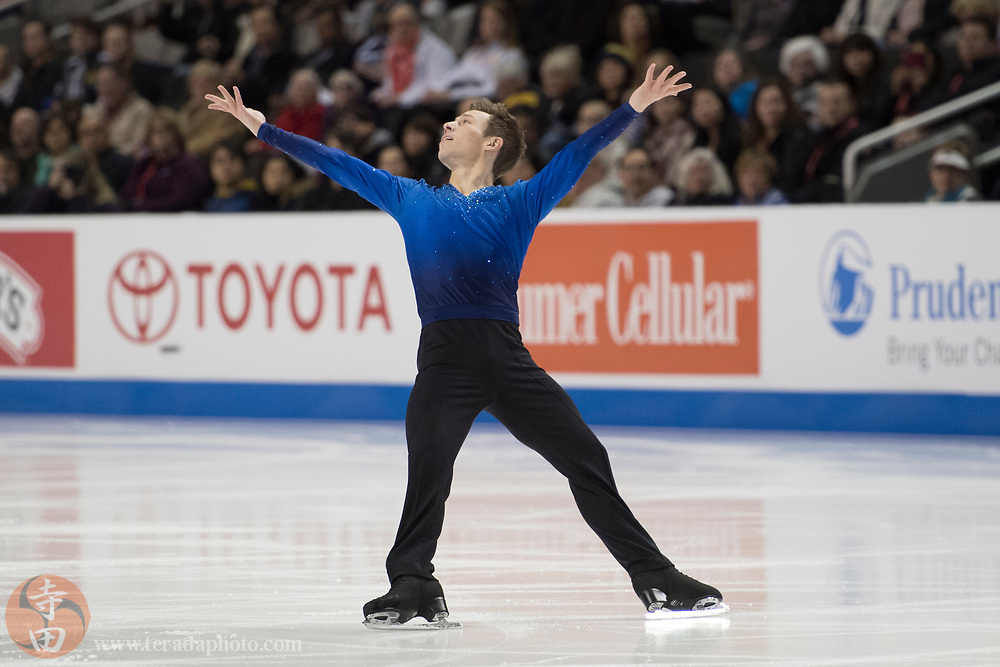 January 4, 2018; San Jose, CA, USA; Grant Hochstein in the mens short program during the 2018 U.S. Figure Skating Championships at SAP Center.